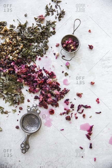 Dried herbs and rose blossoms for herbal tea
