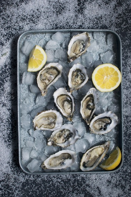 Fresh oysters with lemons on ice