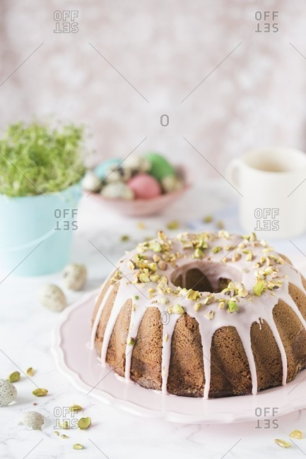 Babka (Easter cake, Poland) with pistachios and icing