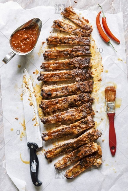 Sliced beef ribs in the homemade bbq sauce