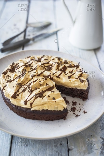 Chocolate peanut cake, sliced