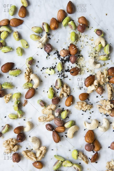 Sprouts, almonds, walnuts, cashews, pistachios, sesame and hemp seeds