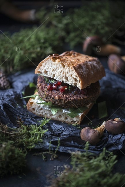 A vegan sandwich with wild mushroom patty, herb cream and lingonberries