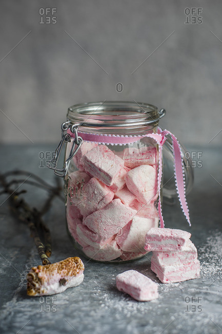 Homemade raspberry marshmallows in a jar