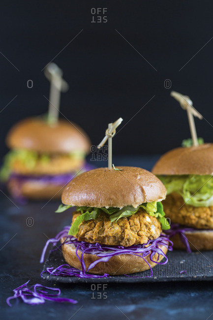 Veggie burgers with butterbean patties, red cabbage and lettuce