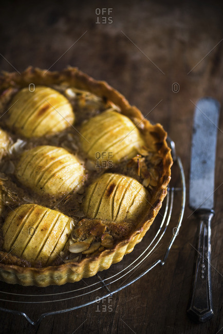 Freshly baked apple and almond tart with a shortcrust pastry base