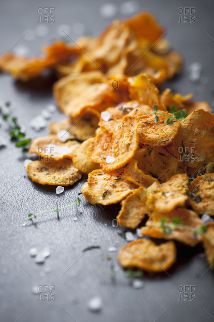 Sweet potato chips with thyme and salt