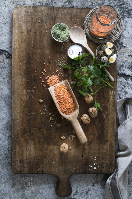 Ingredients for red lentil hummus