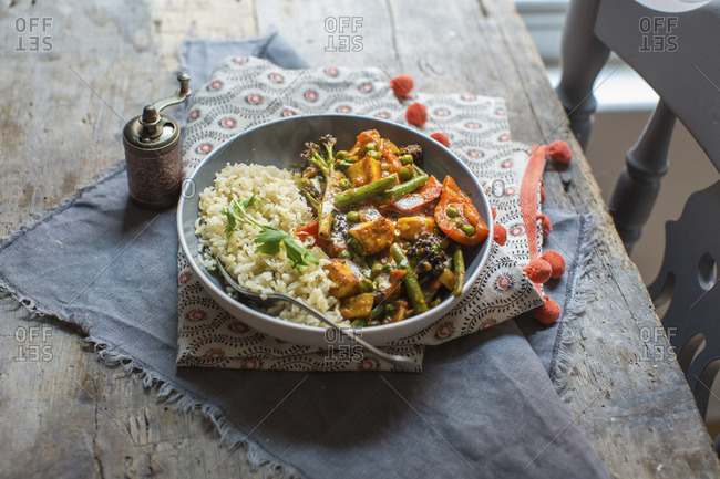 Paneer and vegetable curry with basmati rice
