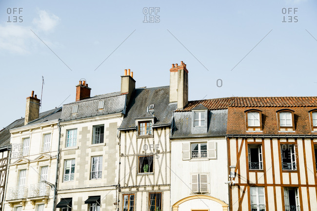 Half-timbered houses at old french town street