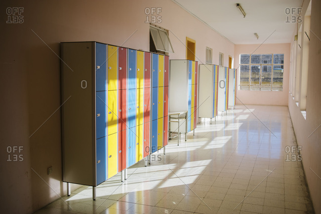 School hallway with lockers