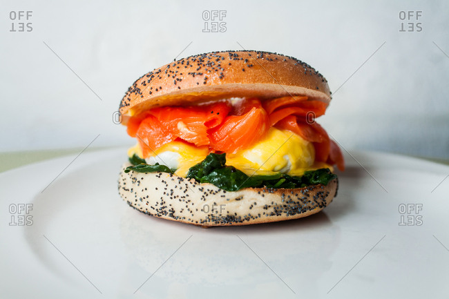 Bagel breakfast sandwich with smoked salmon