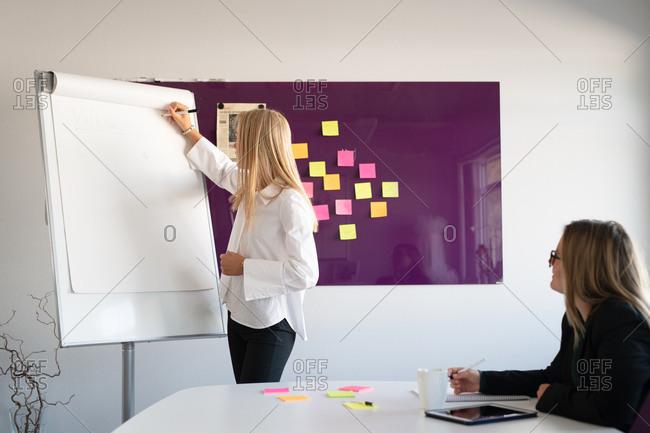 Two businesswomen brainstorming in an office