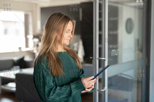 Young businesswoman working on tablet in an office