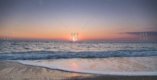 Beautiful sunset at Milos beach, Lefkada island, Greece