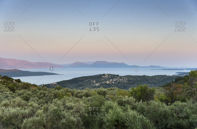 View across Ionian sea at twilight Lefkada island, Greece