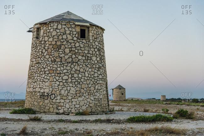 Old windmills on Lefkada island, Greece