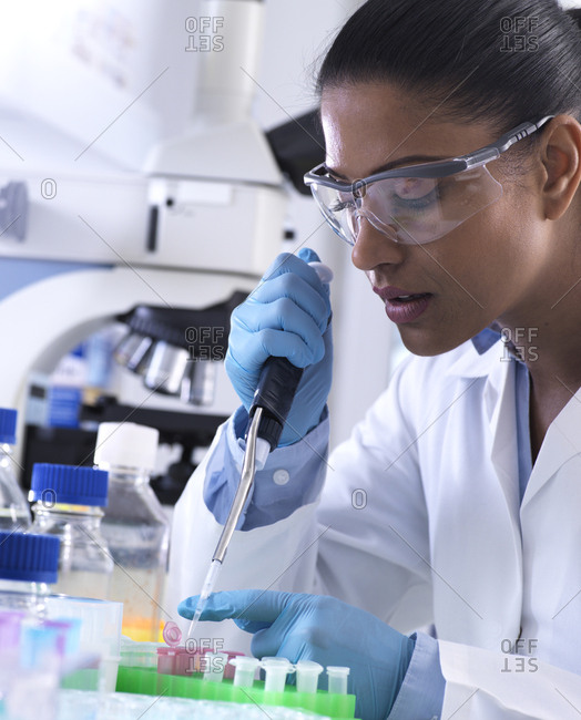 Genetic research- female scientist pipetting DNA or chemical sample into a eppendorf vial- analysis in the laboratory