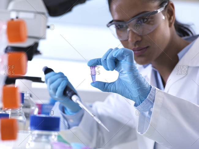 Genetic research- female scientist viewing sample in a eppendorf vial- analysis in the laboratory