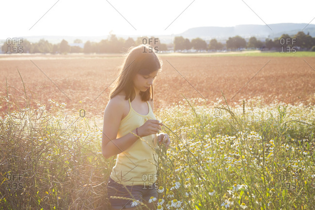 Young girl standing on meadow at summer evening