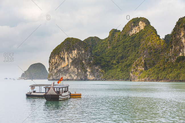 Vietnam- Ha Long bay- with limestone islands and boats