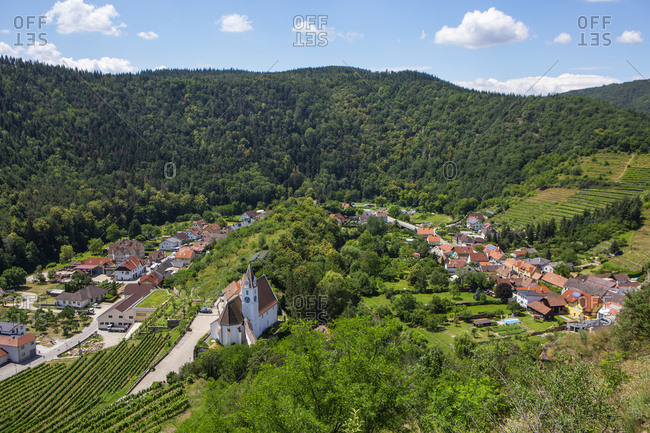 Austria- Lower Austria- Wachau- Kremstal- Senftenberg- View to parish church