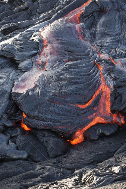 USA- Hawaii- Big Island- Volcanoes National Park- lava flowing from Pu'u O'o' volcano