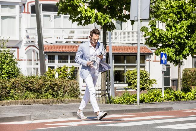 Man crossing a street