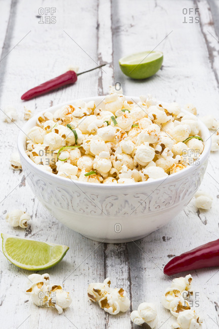 Bowl of popcorn flavored with chili and lime