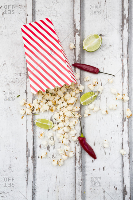 Box of popcorn flavored with chili and lime