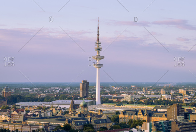 Germany- Hamburg- view to Heinrich-Hertz-Tower in the evening