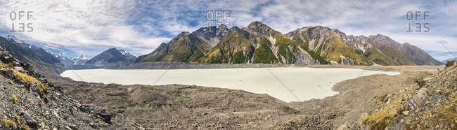 New Zealand- South Island- panoramic view of Tasman Valley with Aoraki Mount Cook and Tasman Lake
