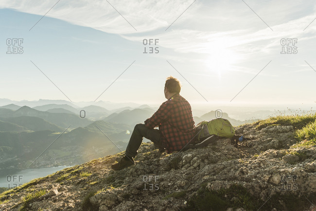 Austria- Salzkammergut- Hiker in the mountains taking a break