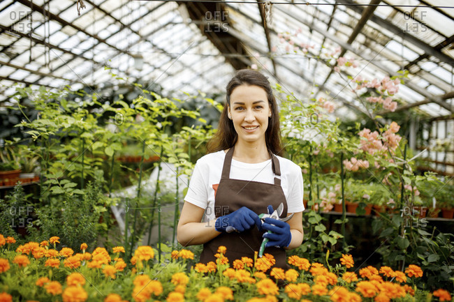 Woman in greenhouse standing with marigolds