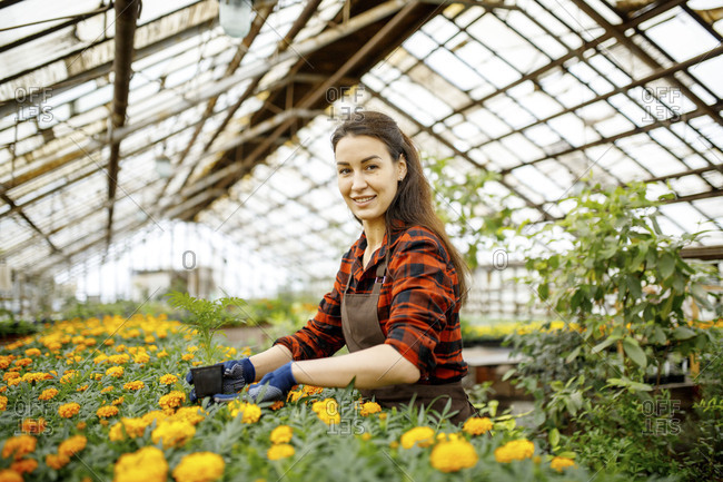 Woman in a greenhouse working with flowers