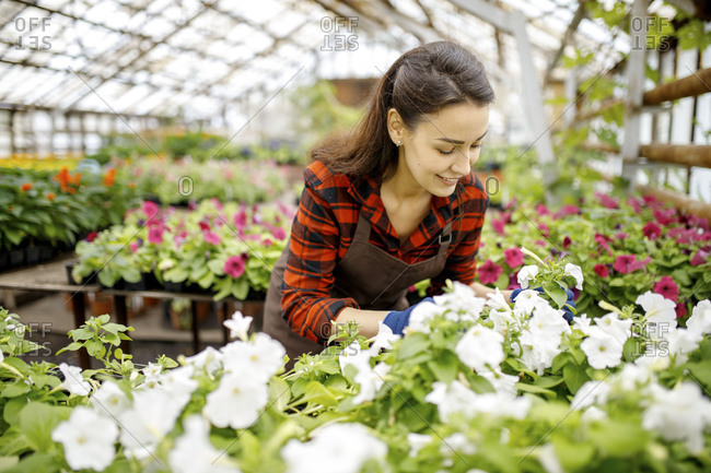 Woman happy with flowers growing in a greenhouse