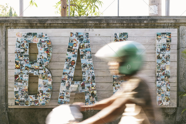 "May 3, 2018- Bali, Indonesia: A sign made of with a montage of photos The sign spells ""Bali"""