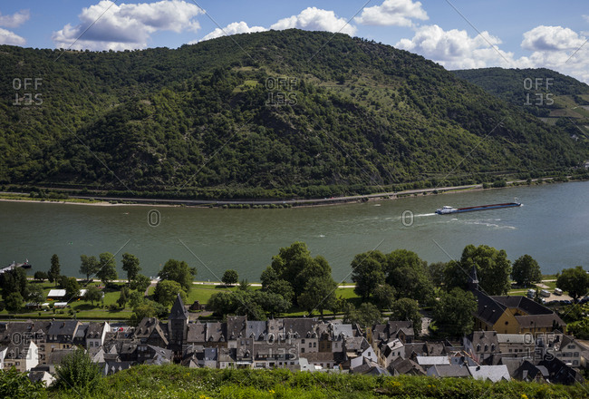 August 6, 2017 -  Bacharach, Germany: A view of the River Rhine from Castle Stahleck in Bacharach, Germany