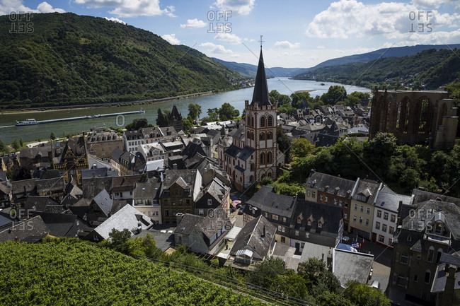 A view of Bacharach and the River Rhine from the surrounding vineyards in Bacharach, Germany