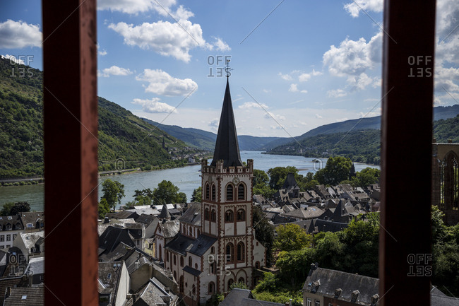 A view of Bacharach and the River Rhine from the Postturm in the surrounding vineyards in Bacharach, Germany