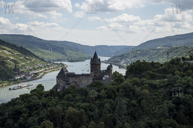 A view of Stahleck Castle and the River Rhine from the surrounding vineyards in Bacharach, Germany