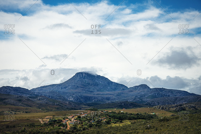 Scenic view of small village surrounded by mountains in Minas Gerais, Brazil