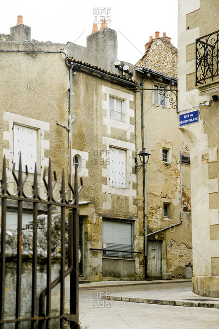 Poitiers, France - August 7, 2018: Medieval old town street in France