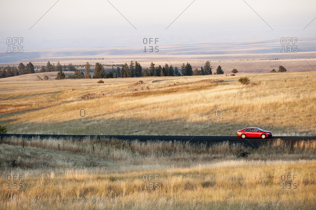 An automobile on the road in eastern Washington State, USA