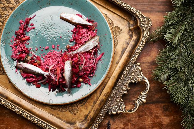Sardine dish served on vintage tray