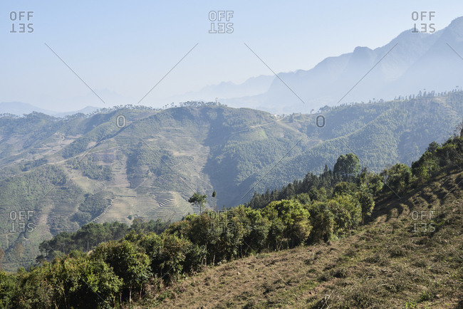 Scenery view of vietnamese landscape from the top of the mountains of Northern Vietnam border with China.