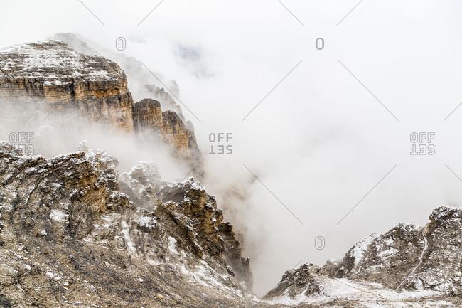 Europe, Italy, Alps, Dolomites, Mountains, View from Sass Pordoi, Sella group