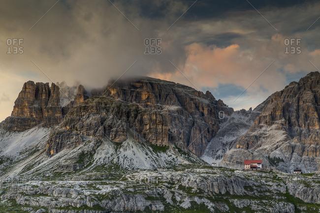 Europe, Italy, Alps, Dolomites, Mountains, View from Forcella di Lavaredo, Lavaredo Pass, Sexten Dolomites