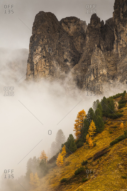 Europe, Italy, Alps, Dolomites, Mountains, Passo Gardena / Gardena Pass, Autumn Dolomites