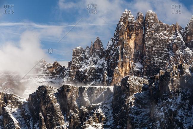 Europe, Italy, Alps, Dolomites, Mountains, Croda da Lago, View from Passo Giau